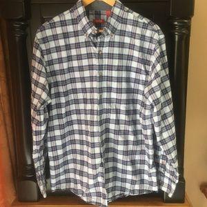 IZOD Plaid Blue Gray Button Down Shirt Size Large